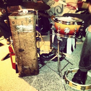 suitcase drum kit, tambourine