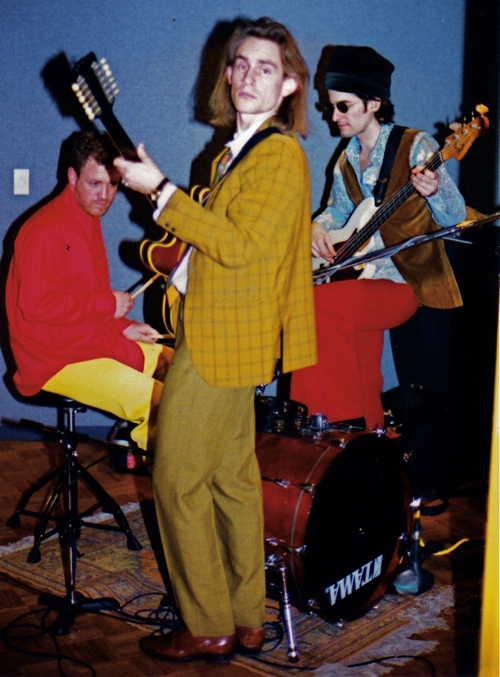 Funkytown Studio, guitar, bass drums, velvet pants, plaid suit, long hair, Tamla drums